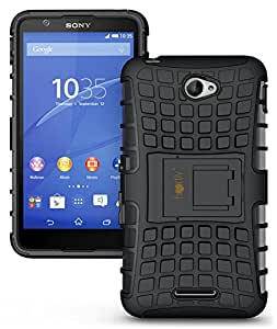 Heartly Flip Kick Stand Spider Hard Dual Rugged Armor Hybrid Bumper Back Case Cover For Sony Xperia E4 & E4 Dual E2115 - Rugged Black