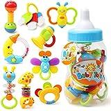 YeahiBaby 9pcs bébé premier hochet et jouet de dentition avec bouteille de lait géant saisir jouet coloré (couleur aléatoire)