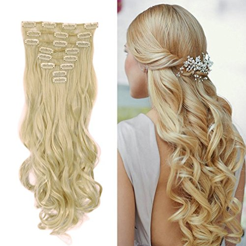 24 inches-wavy , bleach blonde : Clip in Hair Extensions Synthetic Full Head Hairpieces Japanese Kanekalon Fiber Thick Long Wavy Curly Soft Silky 8pcs 18clips for Women Fashion and Beauty 24 / 24 inch (613 Bleach Blonde)