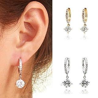 Arpoador 1Paar Frauen Jewelry Ear Hoop versilbert Kristall Strass Ohrstecker Ohr Clip (Silber)