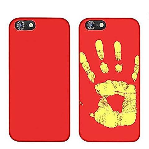 MIMINUO Magischer Thermal Sensor Heißer Soft TPU Rückseitiger Fall für iPhone SE/5/5S/6/6S/6Plus/6SPlus/7/7Plus Case, Color Wechseln mit Temperatur Thermische Induktion Verfärbung Fluoreszierend (Schwarz ,Rote ) (iPhone6 plus/6s plus, (Thermal Sensor)