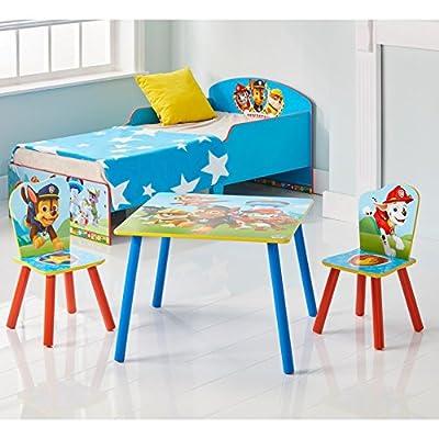 Paw Patrol Conjunto Infantil de Mesa y Dos Sillas, Madera, Multicolor, 63x63x52.5 cm de Worlds Apart
