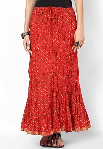 Soundarya Women Cotton Skirts -Red -Free Size