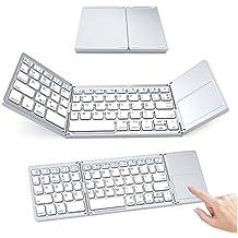 Ikos, tastiera Bluetooth pieghevole wireless tastiera flessibile da tasca mini ricaricabile, per Apple iPhone iPad Mac Samsung Galaxy Tablet iOS/Android/Windows device