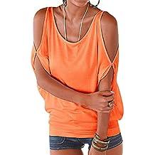 53d933a95354f ISSHE Camisetas Manga Corta Cuello Redondo Anchas Mujer Blusas Elegantes  Camiseta Largas Chica Camisas Dama Fiesta