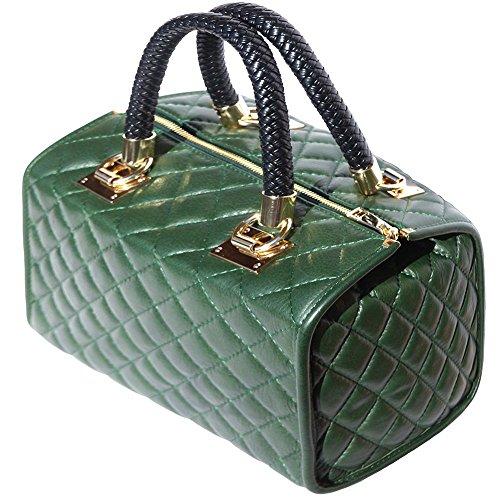 Bauletto in pelle con accessori oro 7003 Verde
