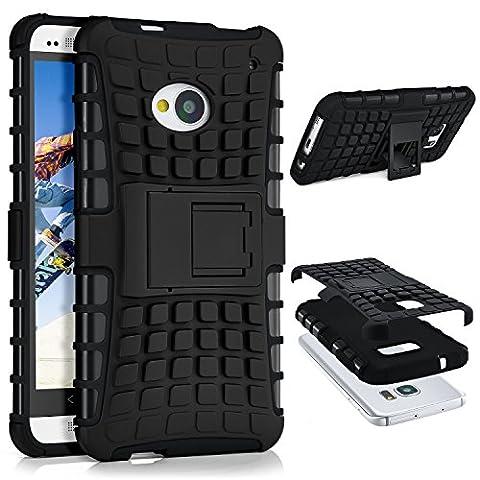 HTC One M7 Hülle Silikon Hard-Case Schwarz [OneFlow Outdoor Back-Cover] Extrem Stoßfest Schutzhülle Grip Handyhülle für HTC One M7 Case Rückseite