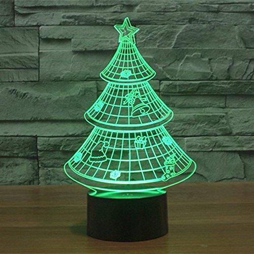Lampe 3D ILLUSION Lichter der Nacht, kingcoo 7Farben LED Acryl Licht 3D Creative Berührungsschalter Stereo Visual Atmosphäre Schreibtischlampe Tisch-, Geschenk für Weihnachten, Kunststoff, Arbre de Noël 0.50 wattsW - 3