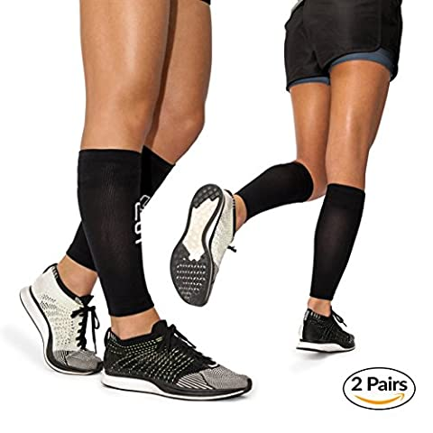 Calf Leg Compression Sleeves by Modetro Sports -Shin Splints, Circulation & Leg Cramp Compression Support Sleeve - Running, Jogging, Cycling, Fitness & Exercise Enhanced Performance - Men & Women () (Large / 15