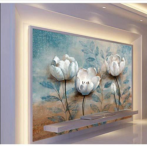 Mkkwp Pintura Europea Flor De Jazmín De Invierno Foto Papel De Pared Rollos Hd Mural Sala De Tv Antecedentes Arte De La Pared Decoración Murales De Flores140Cmx100Cm