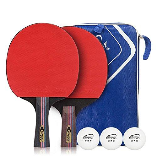 Prom-near Tischtennisschläger Tischtennis-Set 2 Premium Tischtennis Schläger 2 Premium Tischtennis Schläger & 3 Übungs Tischtennis Bälle mit Tragetasche für im Freien Innen Sportaktivitäten