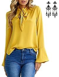 7559b3d3da407 carinacoco Mujer Camiseta Elegante Manga Larga V Cuello Blusa Camisas y  Tops Otoño Para OL Oficina