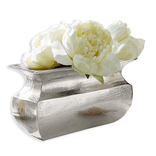 Loberon Vase Cyrian, Aluminium, H/B/T ca. 15/10 / 30 cm, Silber