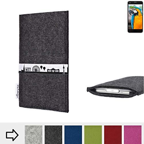 flat.design für Vestel V3 5040 Schutztasche Handy Hülle Skyline mit Webband Wien - Maßanfertigung der Schutzhülle Handy Tasche aus 100% Wollfilz (anthrazit) für Vestel V3 5040