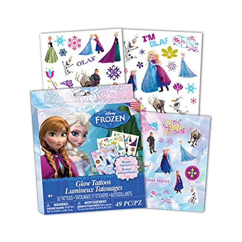 Savvi Disney Frozen Glow Temporary Tattoos w/ Bonus Stickers, 49 Pieces