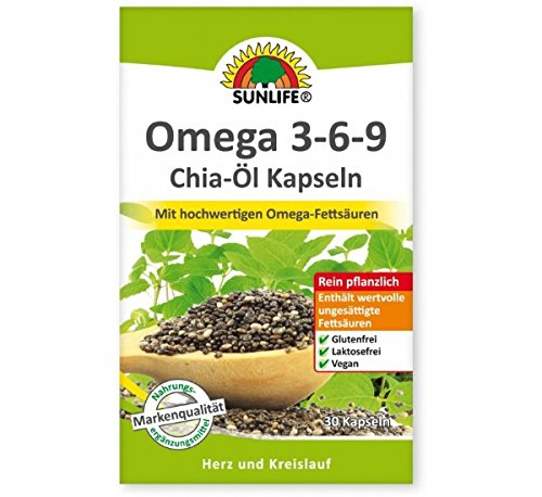 Sunlife Omega 3-6-9 Chia-Öl Kapseln mit hochwertigen Omega-Fettsäuren 30 Kapseln