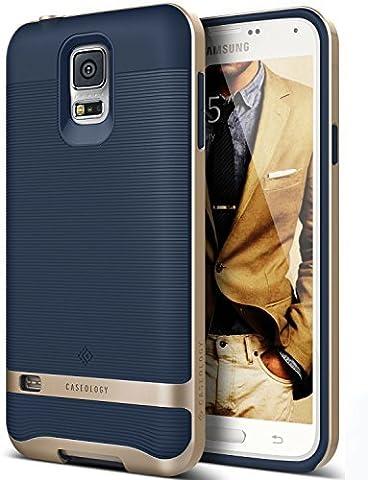 Coque Galaxy S5, Caseology [Wavelength Séries] Etui Slim Design Ripple [Bleu Marine] [Antichoc], pour Galaxy S5 (2014)