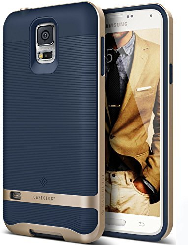 Coque Galaxy S5, Caseology [Wavelength Séries] Etui Slim Design Ripple [Bleu Marine] [Antichoc], pour Galaxy S5 (2014)