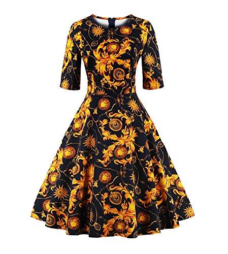 U8Vision Damen Elegant 3/4 Arm 1950er Partykleid Faltenrock Kleid Knielang Druckkleid Cocktailkleid Gr.S-XXXXL Gelb