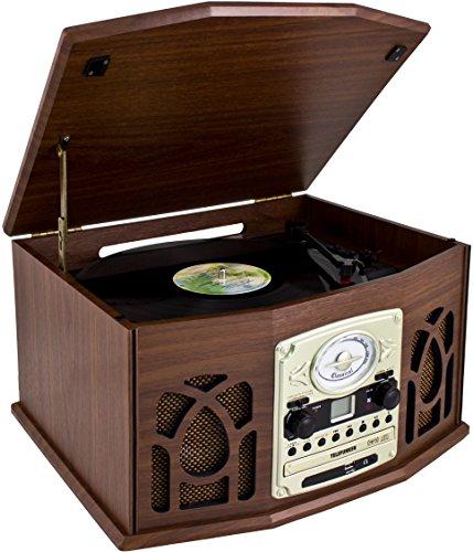 Telefunken TCD200M Nostalgie Musikanlage mit Plattenspieler (UKW-Radio, CD-RW, MP3, USB, Kassette, AUX-In)