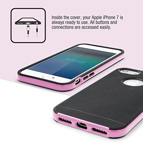 URCOVER® Étui de Protection Bumper Neo Hybrid   Armor-Case   Apple iPhone 7   Plastique et Silicone Vert   Coque Double-couche Ultra-mince Housse Anti-chocs Cover Compléte Rose