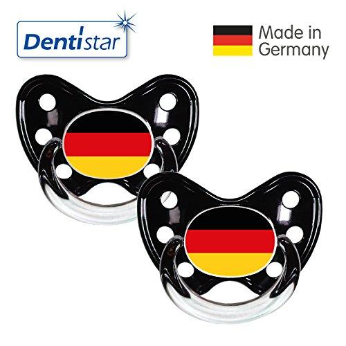 Preisvergleich Produktbild Dentistar® Silikon Schnuller 2er Set inkl. 2 Schutzkappen - Nuckel Größe 3, ab 14 Monate - Fussball Fan Kollektion – Deutschland Fahne, schwarz