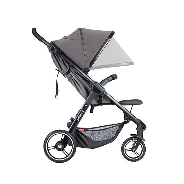 Phil&teds Smart Buggy Pushchair, Graphite phil&teds Foot fold - intuitive, compact, one-piece standing foot fold - a world's first of its kind - is only 23 Inch wide, making it perfect for tight city spaces ; A unique aerocore seat design that's soft and spongy for maximum comfort and is hypo-allergenic, ventilating, insulating, UV resistant, waterproof, non-toxic and simply wipes clean Smooth ride tires - super-smooth, hassle-free riding with 10 Inch rear puncture-proof, aerotech wheels and suspension on all four wheels; convenient hand-operated parking brake offers easy braking control at your fingertips Lightweight - stroller weighs 23.5 lbs. and includes a main, full-size seat that holds up to 44 lbs., an extendable leg and a sun hood with zip-out extension and silent peek-a-boo flap 12