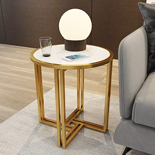 Ecke Akzent Möbel (Klapptisch YANFEI, Ecke, Gold Metallrahmen Marmor und Massivholz Arbeitsplatten, 54 * 54 * 53cm (Farbe : White solid Wood))