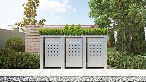 Mülltonnenbox Pflanzdach 4x4 Design Edelstahl 240 Liter 3 Mülltonnen