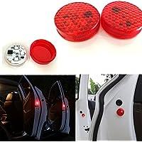 Aviso de puerta de coche abierta con luz roja estroboscópica intermitente LED para abrirlas con seguridad.Luces LED reflectoras y magnéticas,impermeables instantáneo ON/OFF anticolisión (4 unidades)