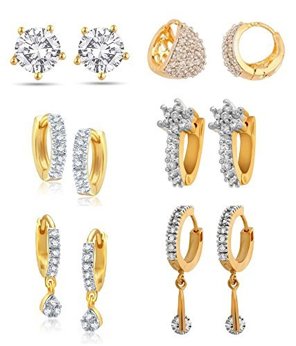 Jewels Galaxy Combo of Trendy American Diamond Earrings