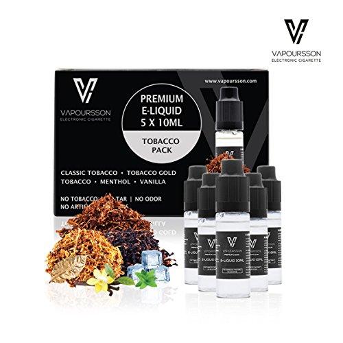 VAPOURSSON 5 x 10 ml E-líquido Tobacco Flavour | Tabaco clásico | Tabaco dorado | Tabaco intenso | Menta | Vainilla | Fórmula para crear un sabor fuerte con ingredientes alta calidad | Hecho para cigarrillos electrónicos y E Shisha
