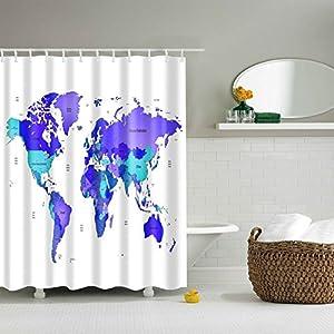 Cortina de ducha de mapa del mundo 1pc para hogar y baño