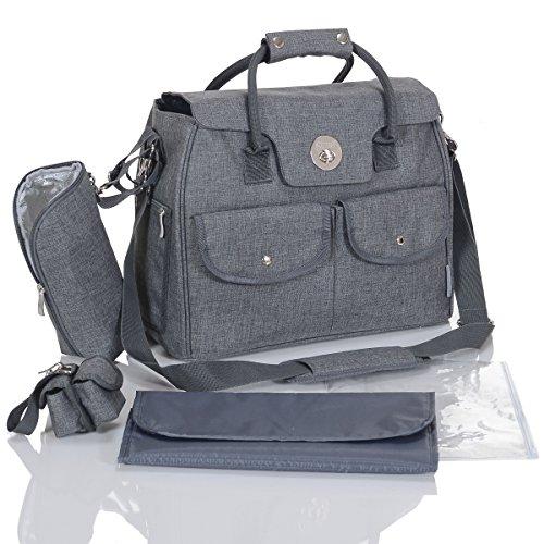 LCP Kids 1066 RIO Grigio borsa fasciatoio bambini del pannolino da 5 pz. con di attacco universale per passeggino e 1 contenitore isotermico