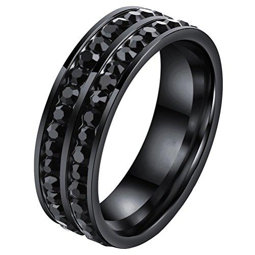 PAURO Damen Edelstahl Doppelte Reihe Kubische Zirkonia Rundschnitt Ring Ewigkeit Hochzeit Band Schwarz Größe (Mann Weiser Junge Kostüm)