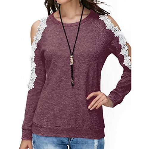 MORCHAN femmechemise️ Dames Chat Impression T-Shirt à Manches Longues Tops Blouse(FR-44/CN-2XL,Vin-6)
