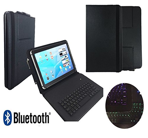 Bluetooth Qwertz Keyboard Tasche für Blaupunkt Discovery 1000C 108C - Tastatur Hülle mit LED Tasten - 10.1 LT 1 Schwarz