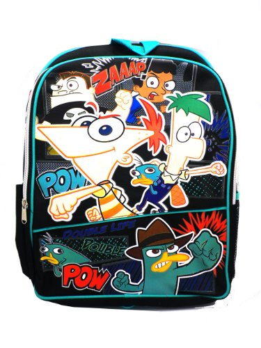 Full Size Black Pow Phineas and Ferb Backpack - Phineas and Ferb Bookbag