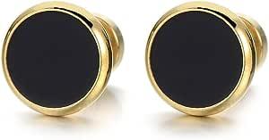 2 Oro Nero Finto Dilatatore Fake Plug, Orecchini da Uomo Donna, Acciaio Inossidabile, 6-12MM