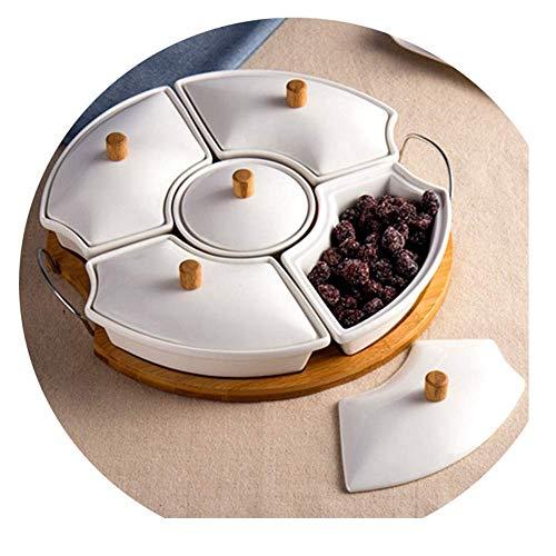 ZSQAT Süßigkeiten- und Nuss-Servierbehälter, Aperitif-Tablett mit Deckel, 5 runde Lebensmittelaufbewahrungs-Lunch-Organizer, geteilter Camping-Snack-Teller, Teller mit Deckel -