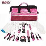 Apollo 23-teiliges Heimwerkzeugset in Pink inklusive Sicherheitsbrille und Handschuhe in einer attraktiven, weichen Aufbeweahrungstasche