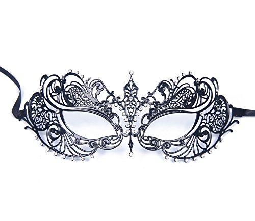 etall Schwarz venezianischen Maskerade-Maske für Frauen mit Kristallen (Venezianische Maske)
