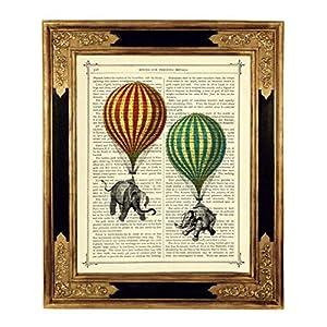 Elefanten Heißluftballons Steampunk Kunstdruck auf antiker Buchseite Geschenk Kinderzimmer Zirkus Bild Poster ungerahmt