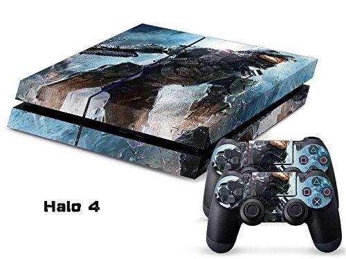 Preisvergleich Produktbild Playstation 4 + 2 Controller Aufkleber Schutzfolie Set - Halo 4