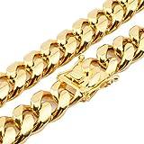 FANS JEWELRY - Pulsera de Cadena para Hombre de Acero Inoxidable Chapado en Oro con Cadena de Miami Cubana de 17 a 18 cm