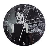 Audrey Hepburn Eiffelturm Glas Wanduhr schwarz weiß 30cm rund