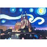 Póster 60 x 40 cm: Starry Night in Barcelona Van Gogh Inspirations with Sagrada Familia de M. Bleichner - impresión artística de alta calidad, nuevo póster artístico