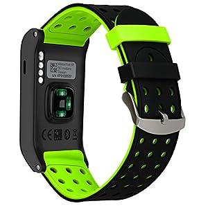 TRUMiRR Für Garmin Vivoactive HR Armband, Double Color Silikon Gummi Uhrenarmband Sport Armband Edelstahl Verschluss Armband für Garmin Vivoactive HR Smart Watch