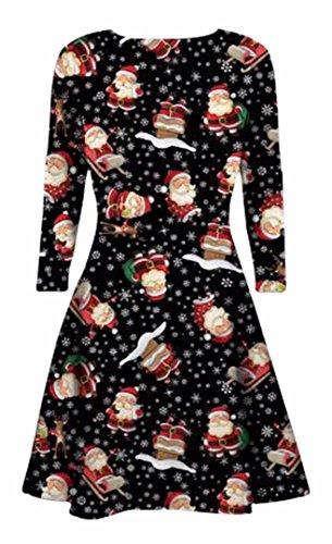 Fast Fashion - Robe Manches Longues Xmas Noël Novelty Parti Imprimé Trapèze - Femmes Noël # 6