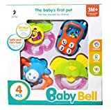 #1: 4pcs Baby Rattles Teether, Shaker, Grab and Spin Rattle, Musical Toy Set, (Non Toxic, Friendly)